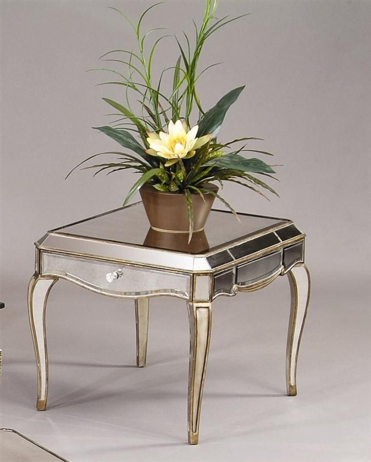 Bassett Mirror Mirrored End Table W Drawer In Gold Silver Leaf Collette Mirrored End Table End Tables Coffee Table Square