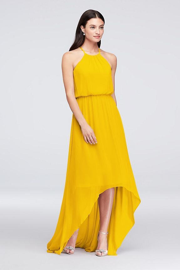 f55ffeb558 Sunflower yellow bridesmaid dress | High-Low Chiffon Halter Bridesmaid Dress  | David's Bridal