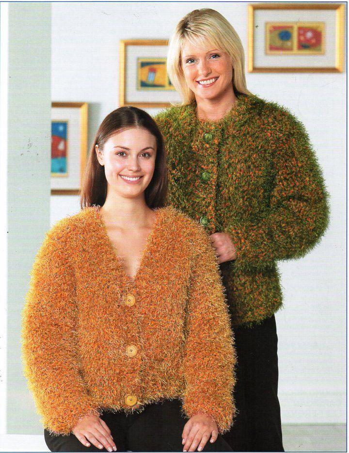 Womens Super Chunky Cardigans Knitting Pattern Pdf Ladies Furry