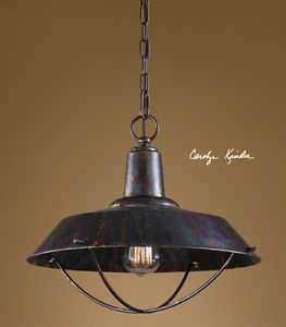 Rustic Primitive Industrial Brown Bronze Kitchen Pendant Light