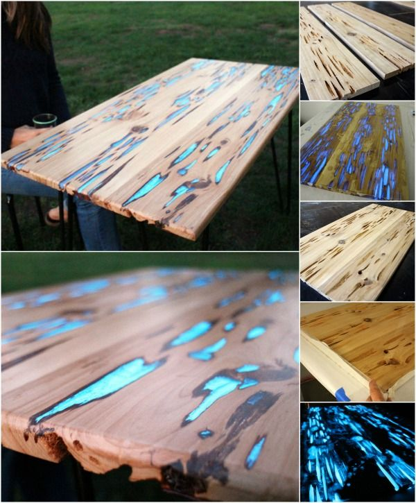 Rustic DIY With a Twist: Magical Glow-in-the-Dark Resin-Inlay and Table -.