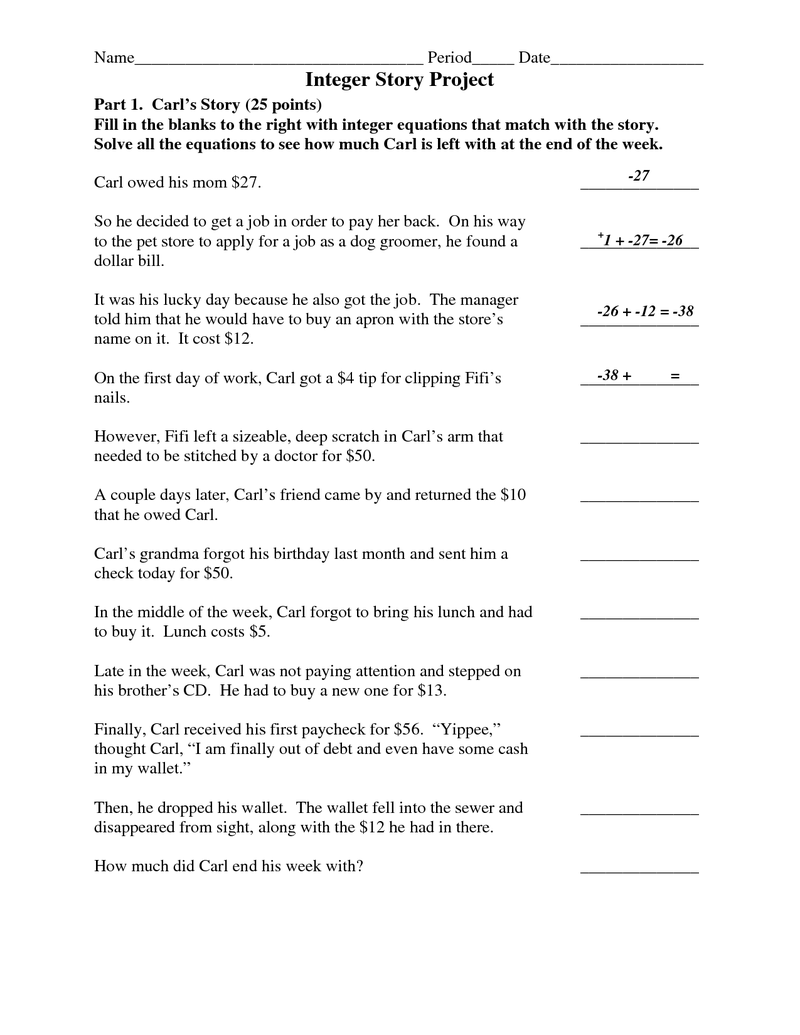 hight resolution of Page 1 - Integer Story Project.docx   Math integers