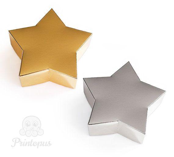star shape printable gift box template pdf digital file instant