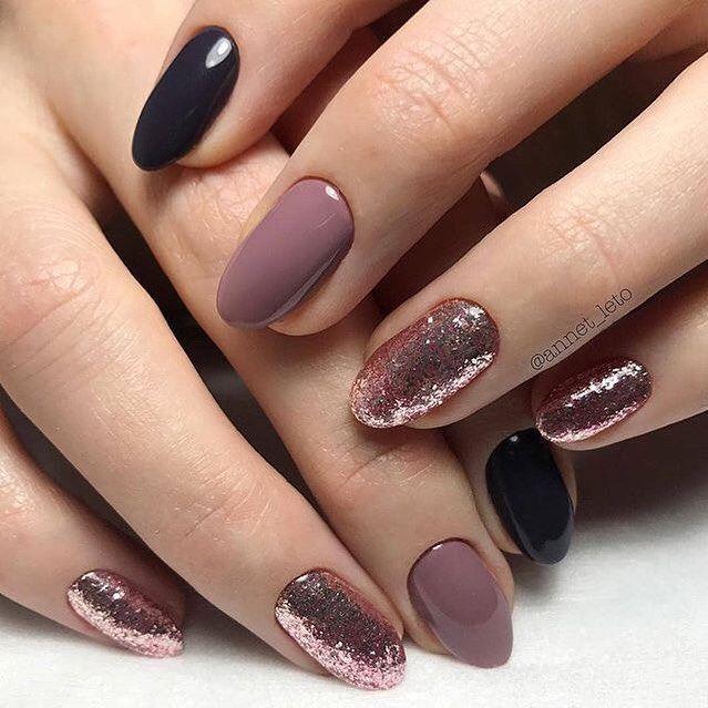 Rose gold mauve match black nail art