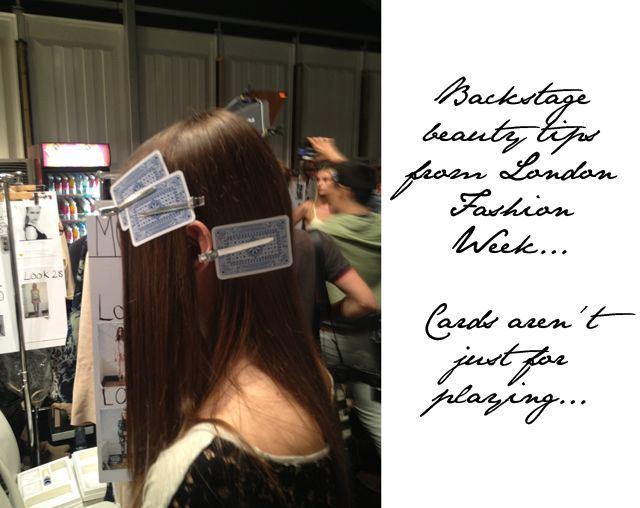 wasn't sure where to file this.  it's a good idea. Fashion Foie Gras: Backstage beauty tips: Playing cards for keeping bumps at bay