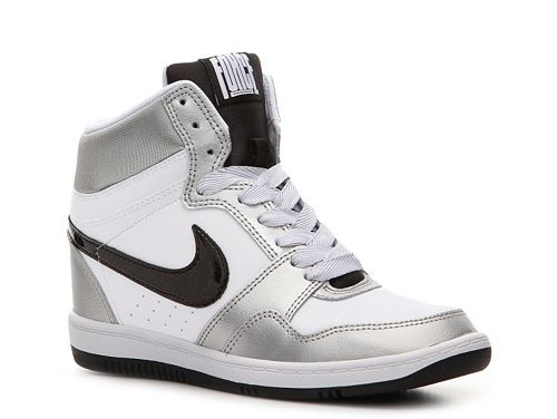 sports shoes 5a1d3 84ab1 Nike Force Sky High Wedge Sneaker - Womens • wedge sneakers, high top wedge  sneakers, silver sneakers
