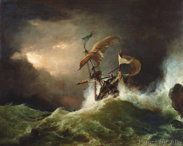 George Philip Reinagle - A First rate Man-of-War driven onto a reef of rocks, floundering in a gale