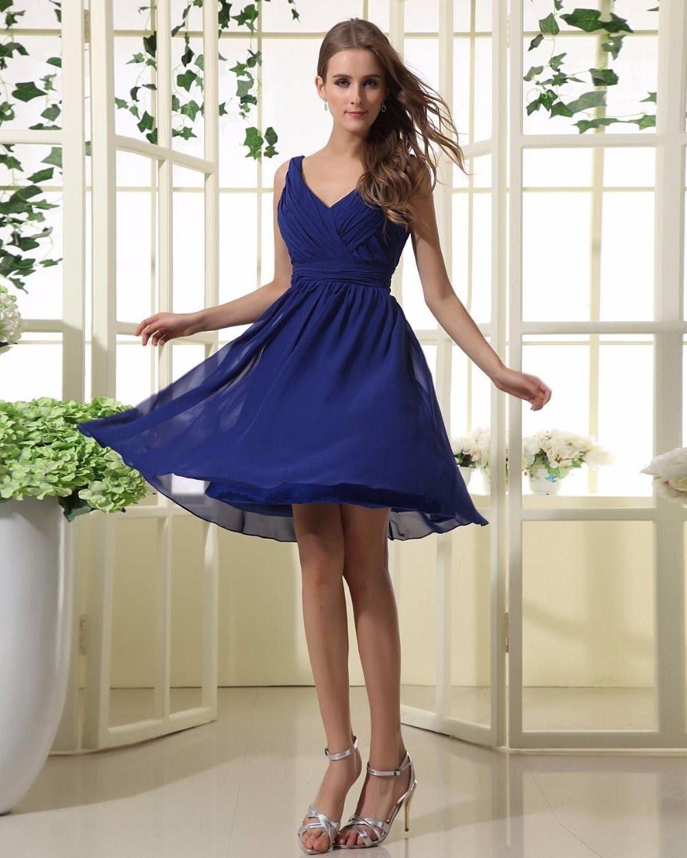 Httpsgooglesearchqdraped blue dress dresses ruffles knee length sleeveless v neck royal blue zipper bridesmaid dresses by okdress south africa ombrellifo Images
