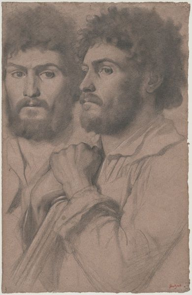 Edgar Degas (1834–1917) Two Portrait Studies of a Man, c. 1856–57 Graphite with stumping with touches of white chalk on pink wove paper 17 5/16 x 11 3/8 inches.