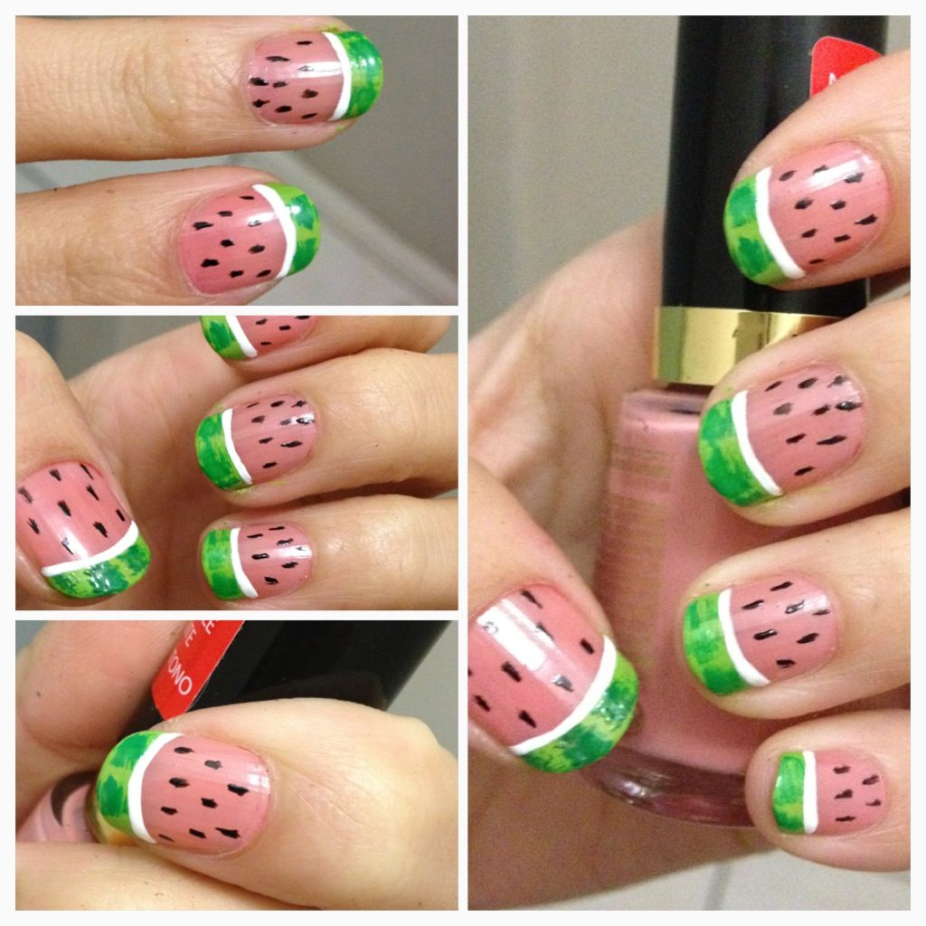 Watermelon nails nail art do it yourself how to do manicure summer watermelon nails nail art do it yourself how prinsesfo Image collections