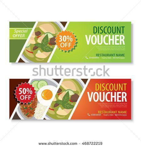 discount voucher template with thai food flat design Cupones - food voucher template