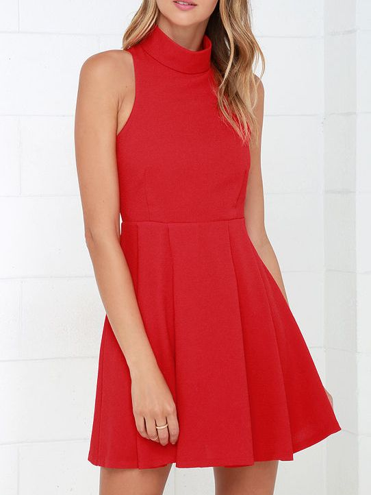 e309795e0b79 Shop Red High Neck Open Back Dress online. SheIn offers Red High Neck Open  Back