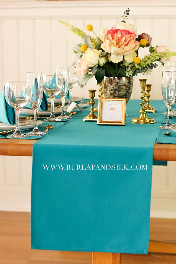 Teal Table Runner 14 X 108 Inches Teal Table Runners For Weddings And Events Teal Wedding Table Runners Wedd Table Runners Wedding Wedding Table Teal Table