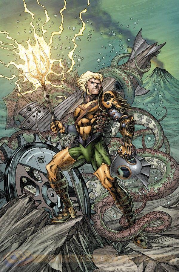 DC Comics steampunk Variant Covers | Aquaman #28 variant by Richard Horle