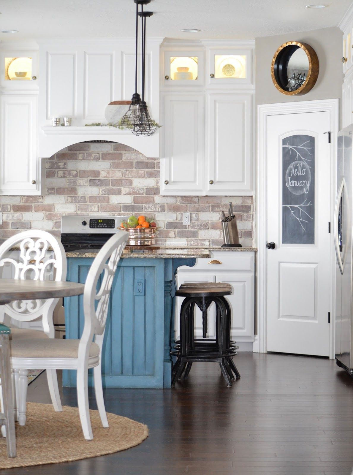 Farmhouse Kitchen With Brick Backsplash