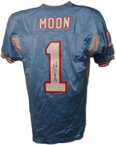 b9c4f8fb2 Warren Moon Autographed Houston Oilers Mitchell 7 Ness Size 48 Blue Jersey