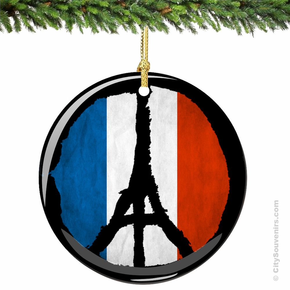 Paris Peace Sign Christmas Ornament With The French Flag Show Your