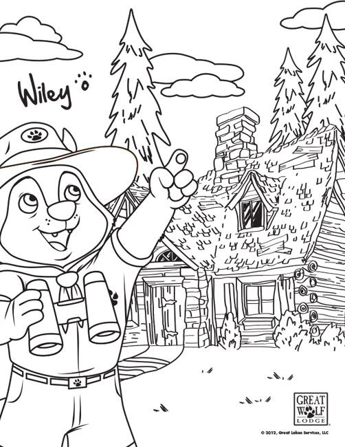 Take These Free Great Wolf Lodge Coloring Sheets Along On Road