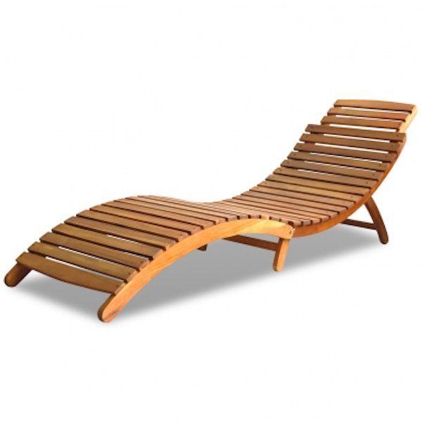Sun Lounger Chair Foldable Outdoor Acacia Wood High Quality Build Elegance   eBay