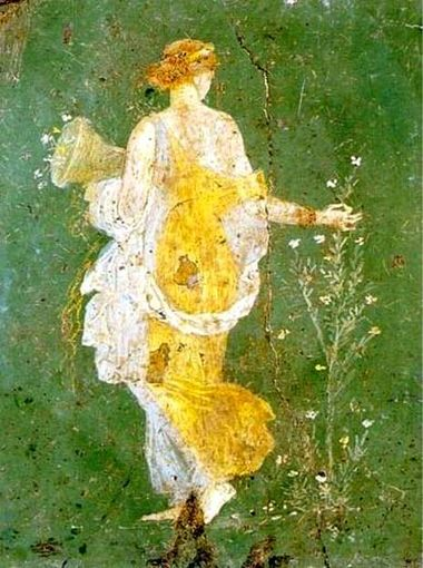 """""""Flora"""". Fresco painting of Flora, or Primavera, found in the luxurious resort of Stabiae in the Bay of Naples. It depicts the Roman goddess Flora, who is associated with spring flowers."""