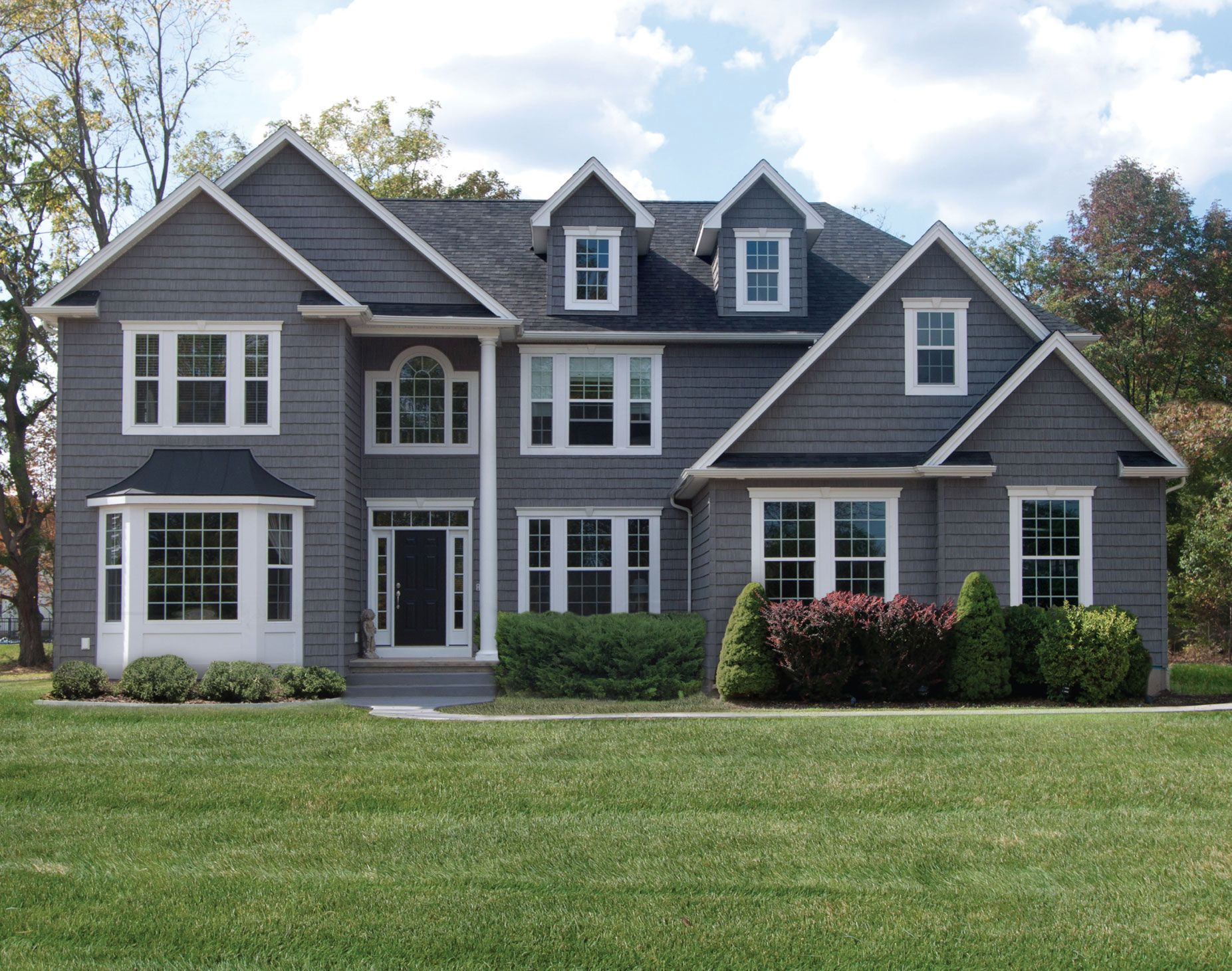 Nice Grey House With White Trim