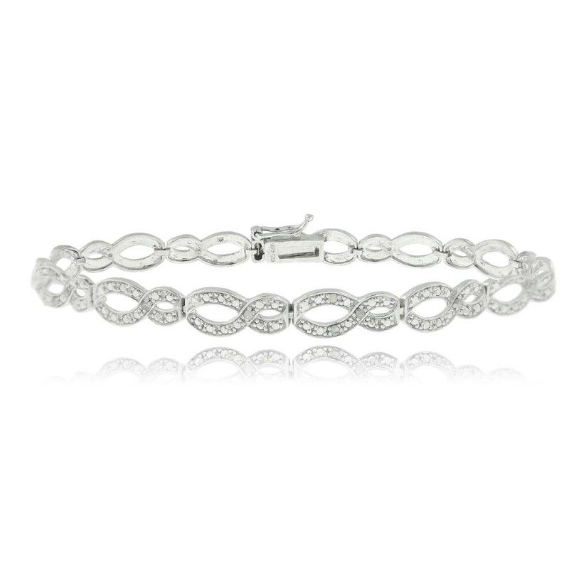 cttw row black silver sterling in two bracelet diamond white and infinity