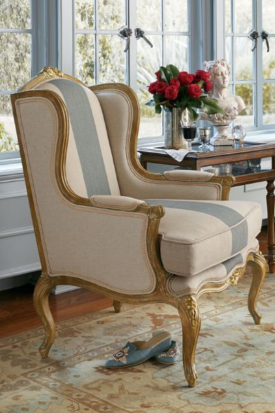 Talcy Wingback Chair - French Antique Wingback Chair $648 Formal