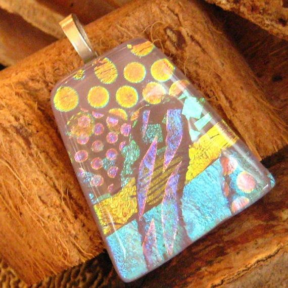 Soft Lavender Purple Dichroic Fused Glass Pendant by GlassCat, $22.50