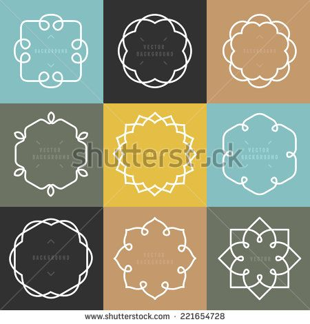 Vector Set Of Outline Emblems And Badges - Abstract Hipster Logo Templates - 221654728 : Shutterstock