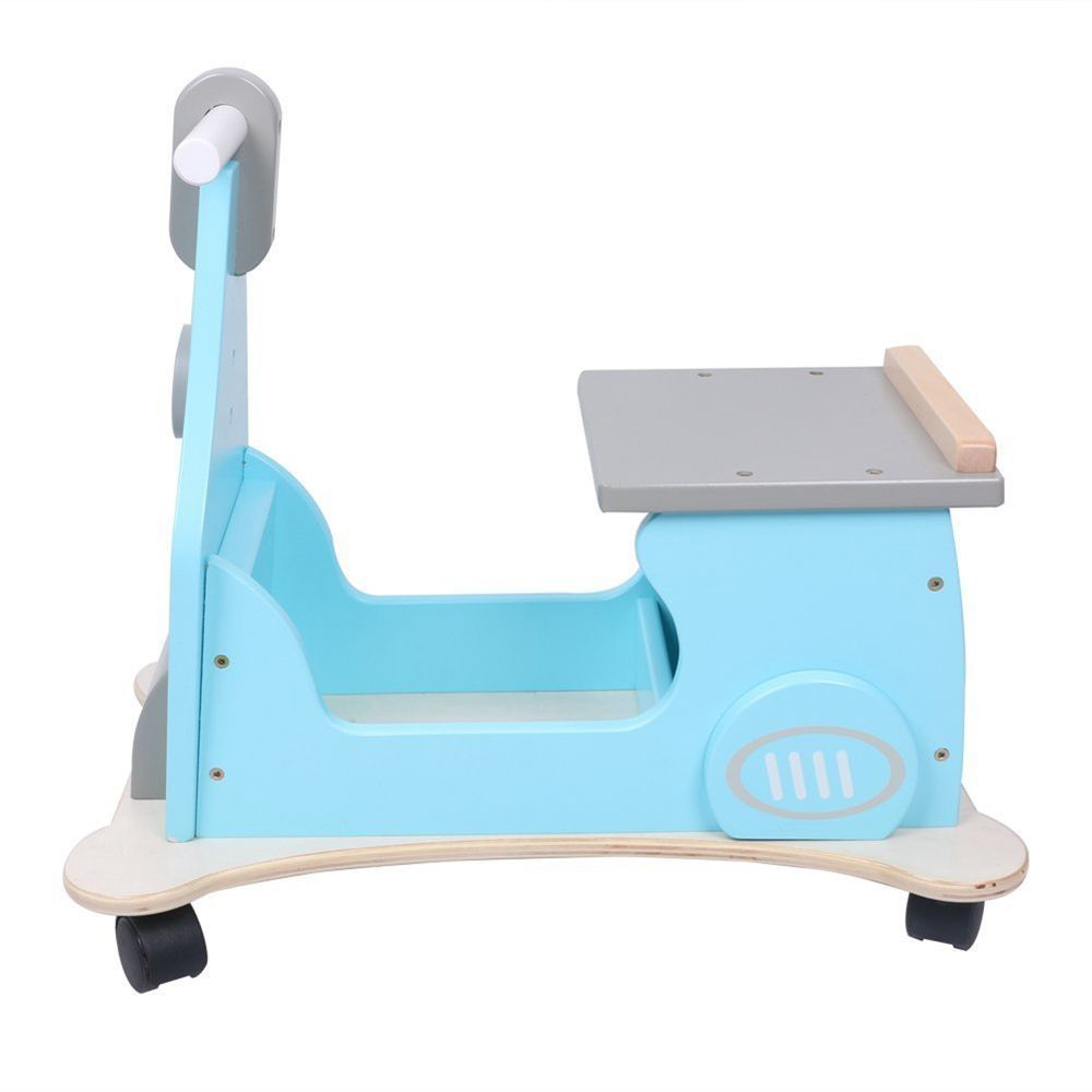 New Hessie 4 wheeled wooden Motor Toy  Sturdy construction Kids Baby Gift Blue