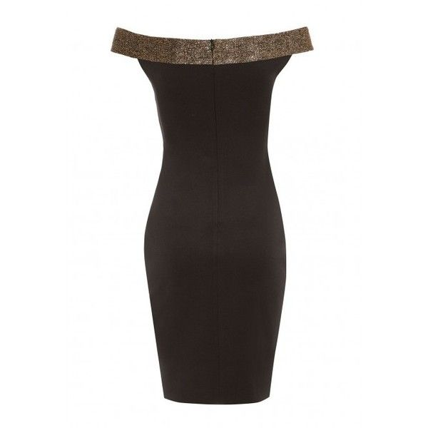 LBD Lola Bardot Bodycon Dress in Black and Gold ($80) ❤ liked on Polyvore featuring dresses, evening cocktail dresses, black and gold cocktail dress, evening party dresses, little black cocktail dresses and holiday dresses