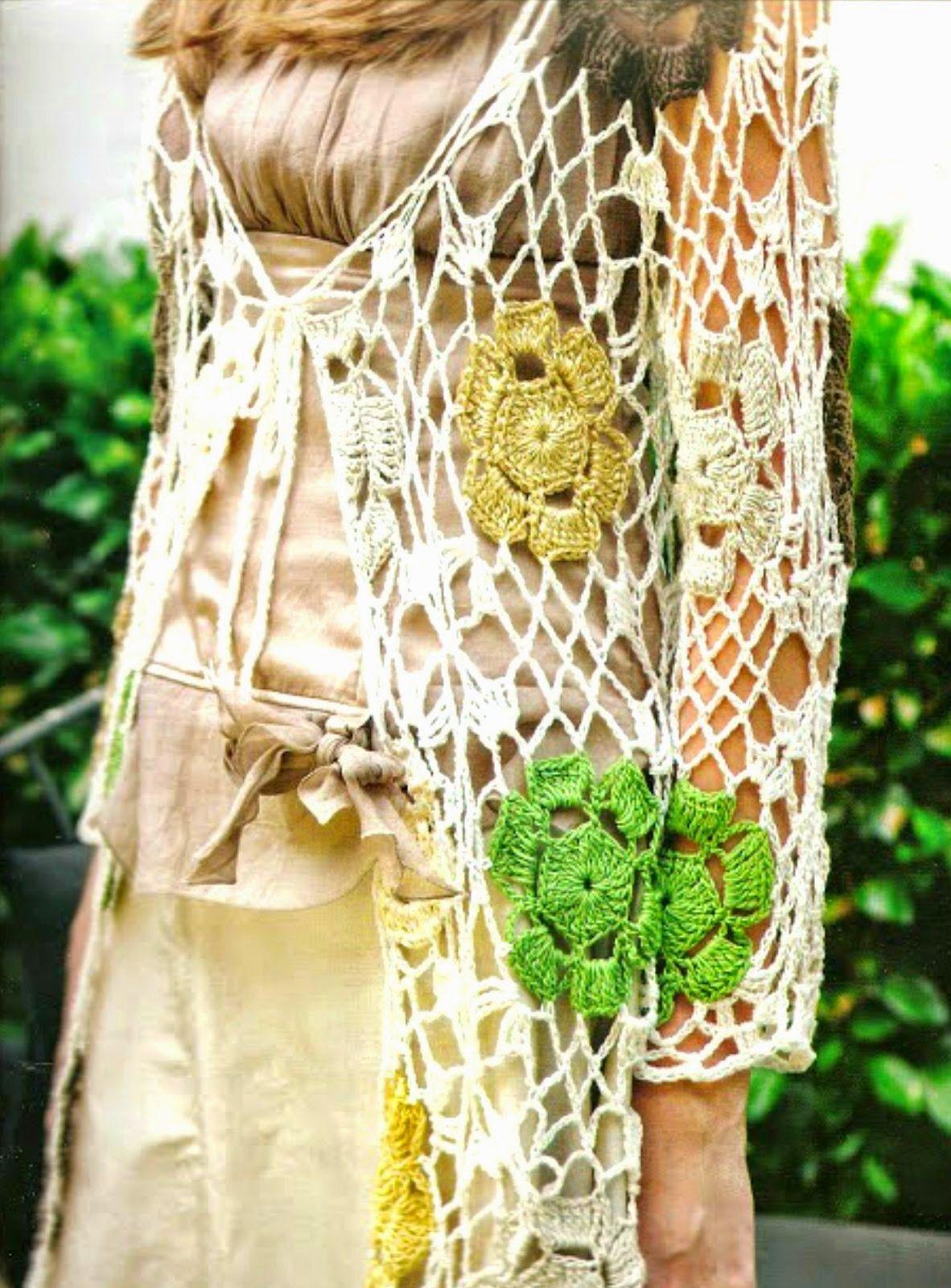 Chaleco calado de red con flores de ganchillo - Patrones Crochet ...