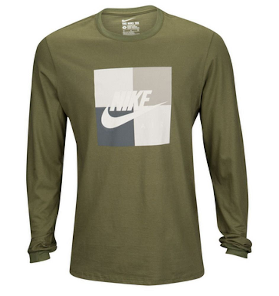 Nike Air Box Blocked Olive Green Long Sleeve Graphic T Shirt Mens X Large Nwt Fashion Clothing Shoes Acce Long Sleeve Tshirt Men Shirts Mens Winter Shirts