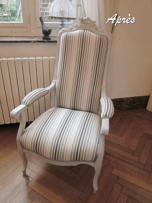 Voltaire ancien retapiss gris clair tissu ray gris et marron r alisation - Meuble voltaire ...