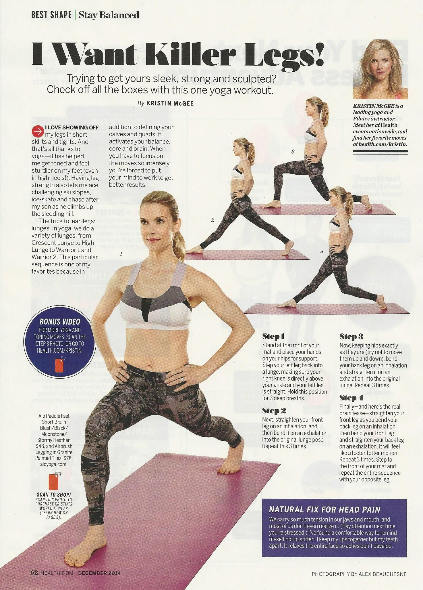 How To Get Killer Legs From Health Magazine Featuring Kristin McGee