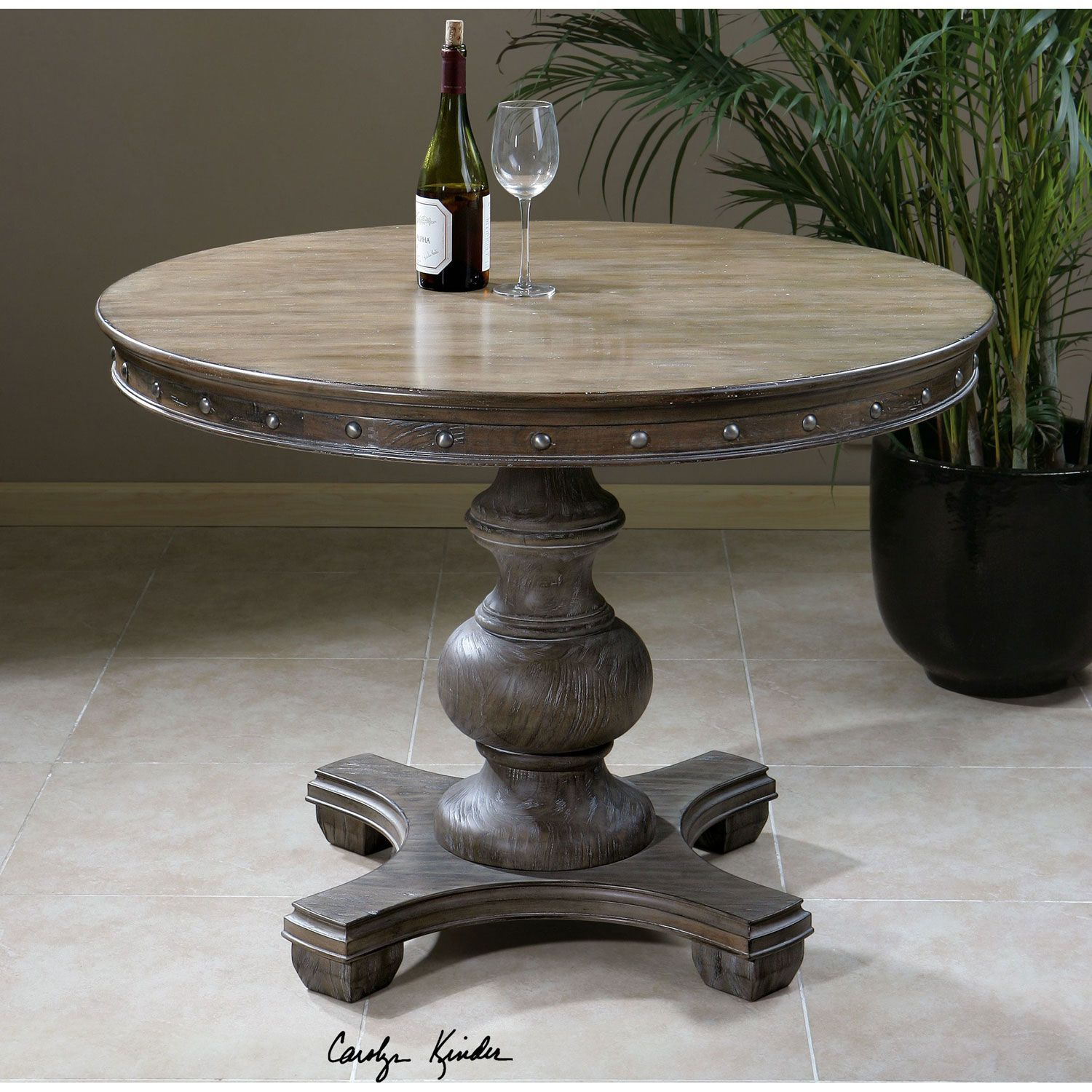 Uttermost Sylvana Light Gray 42 Inch Round Table 24390 Bellacor Dining Table Round Accent Table Round Dining Table