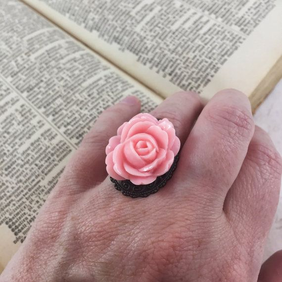Vintage Style Pink Rose Flower Statement Ring // Adjustable Ring  by MonicaRudyJewelry