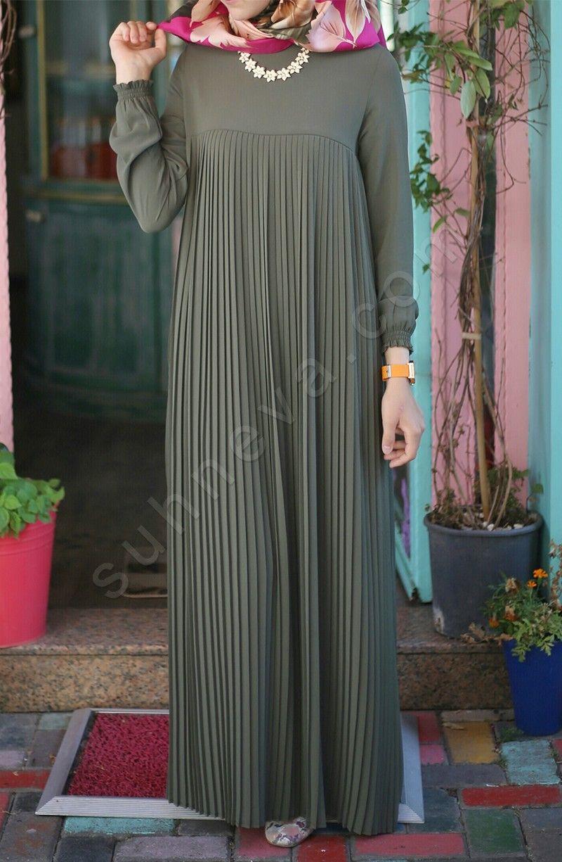 Piliseli Robali Elbise Yesil Elbise Elbise Modelleri Kadin Giyim