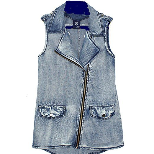 Partiss Womens Loose Sleeveless Denim Vests Jacket(M, Blue)