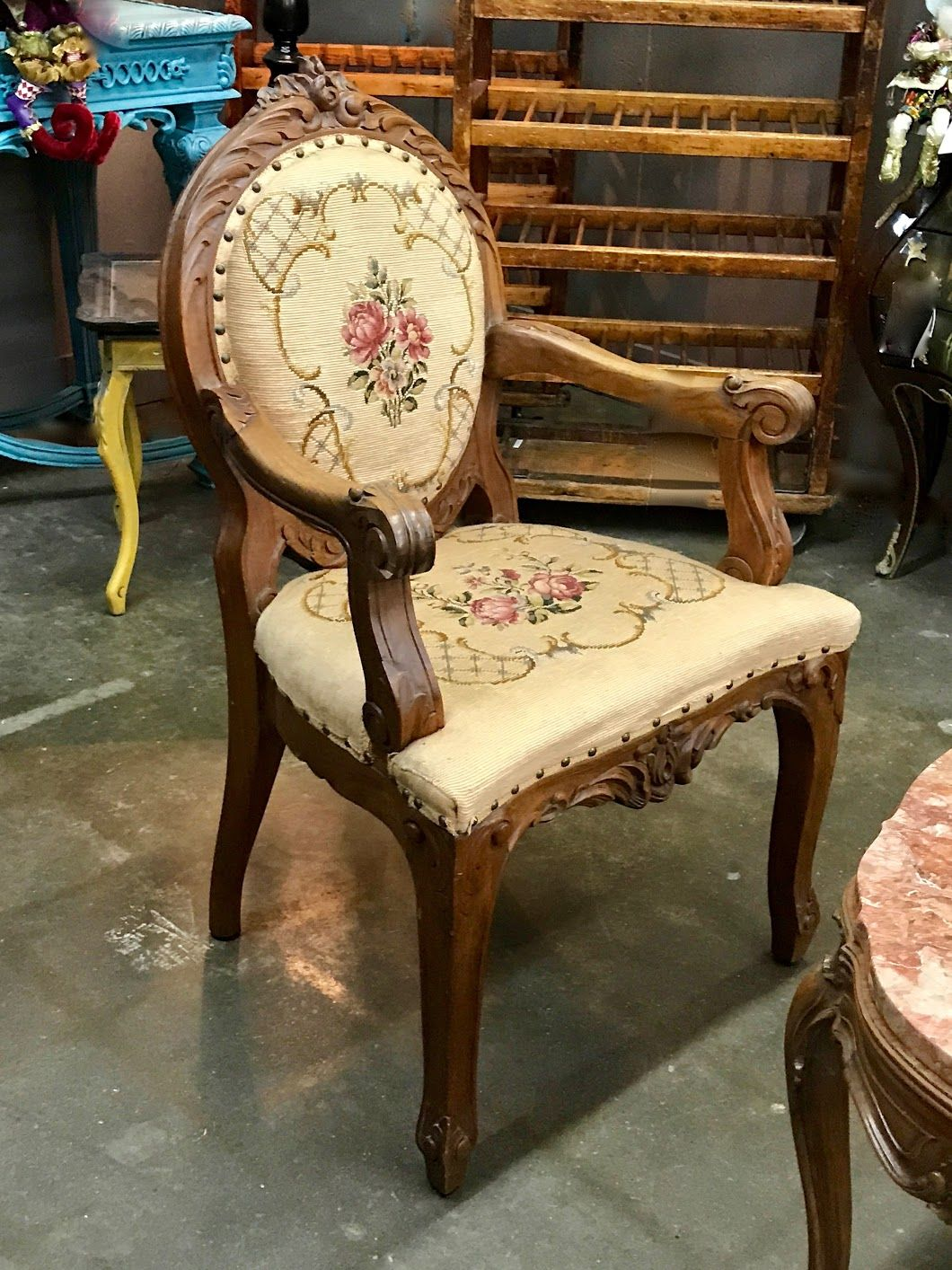 French Antique Needlepoint Horse Hair Armchair On Sale Was $399 Sale Price  $319 My Treasured Antiques - French Antique Needlepoint Horse Hair Armchair On Sale Was $399 Sale