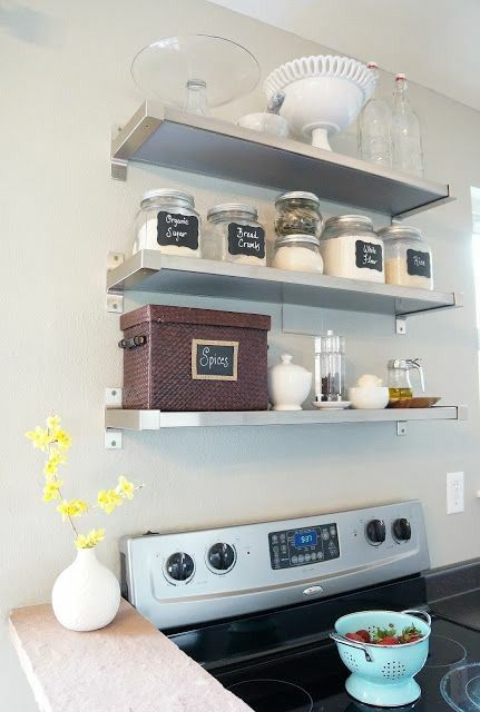 Metal Shelves Over Stove When You Have Limited Storage Stove Decor Ikea Shelves Kitchen Shelves