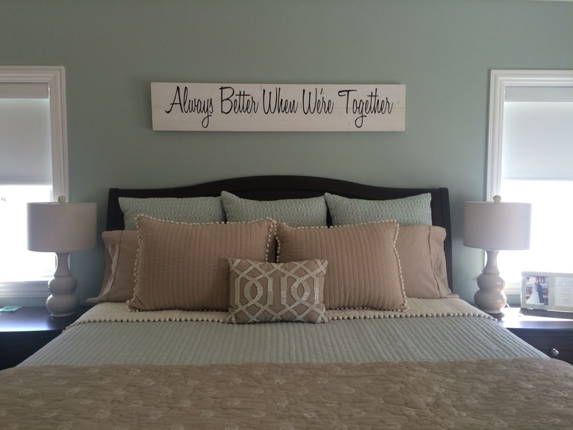 Our Master Bedroom Is Complete Spa Colors Etsy Art Blue Ivory Tan Bedding From Ballard Designs
