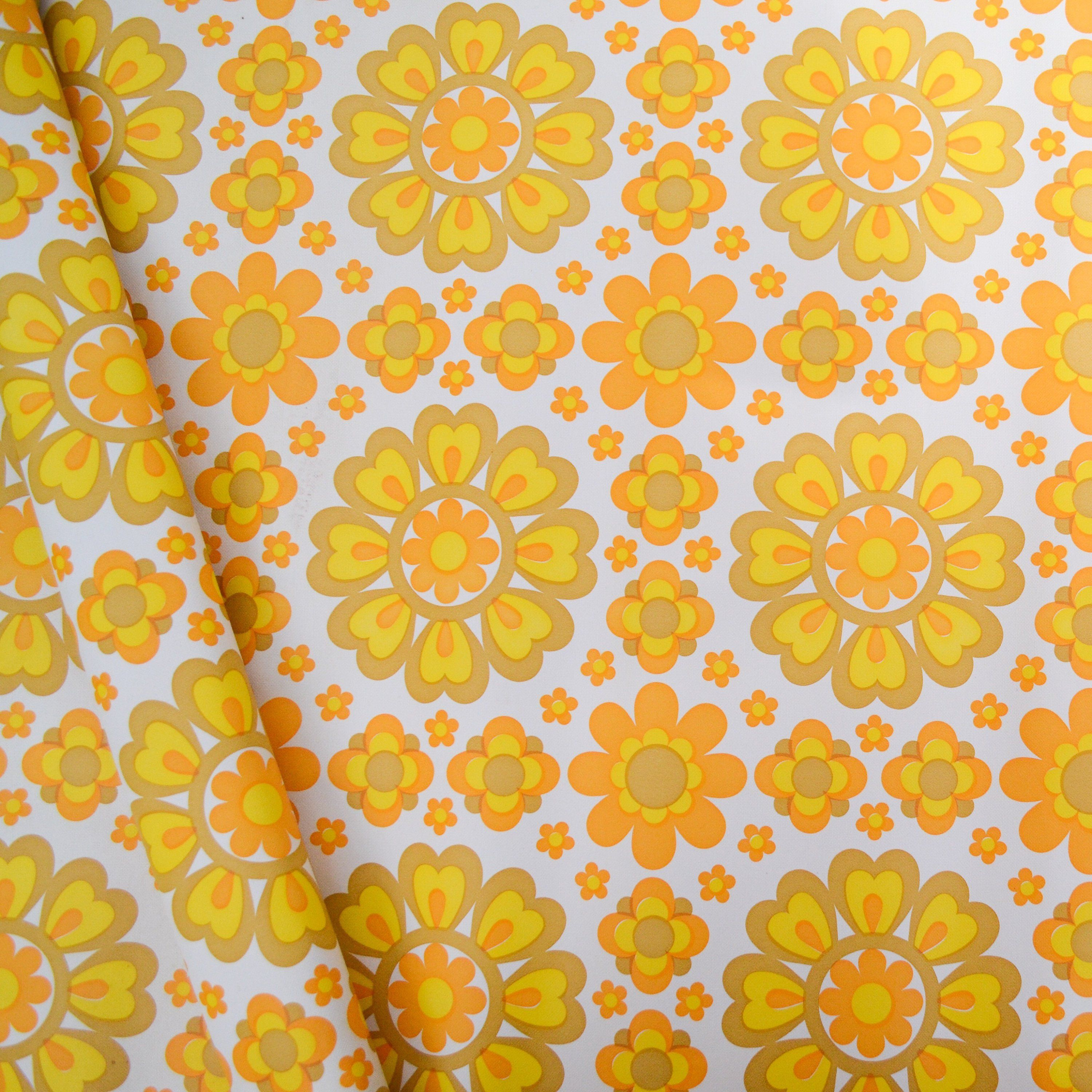 Vintage Flower Power Wallpaper Orange And Yellow Floral Wallpaper