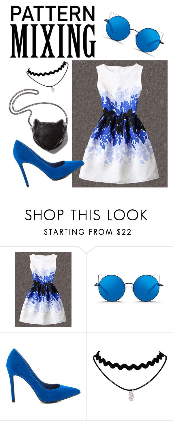 """""""Pattern Mixing"""" by almadedic010 ❤ liked on Polyvore featuring WithChic, Matthew Williamson, Penny Loves Kenny, STELLA McCARTNEY, white, black, Blue and patternmixing"""