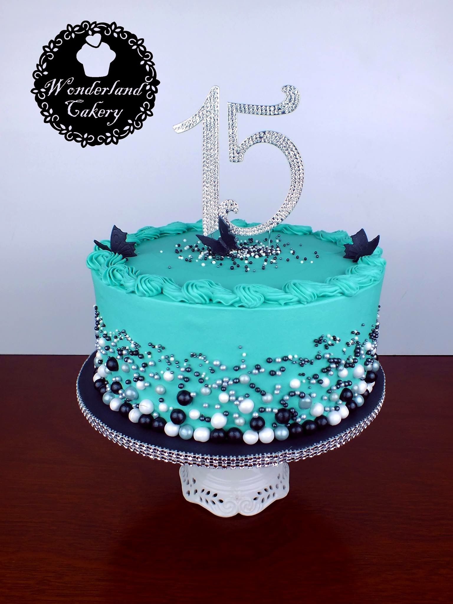 Admirable 15Th Birthday Cake Blue Turquoise Black White Butterflies Birthday Cards Printable Riciscafe Filternl