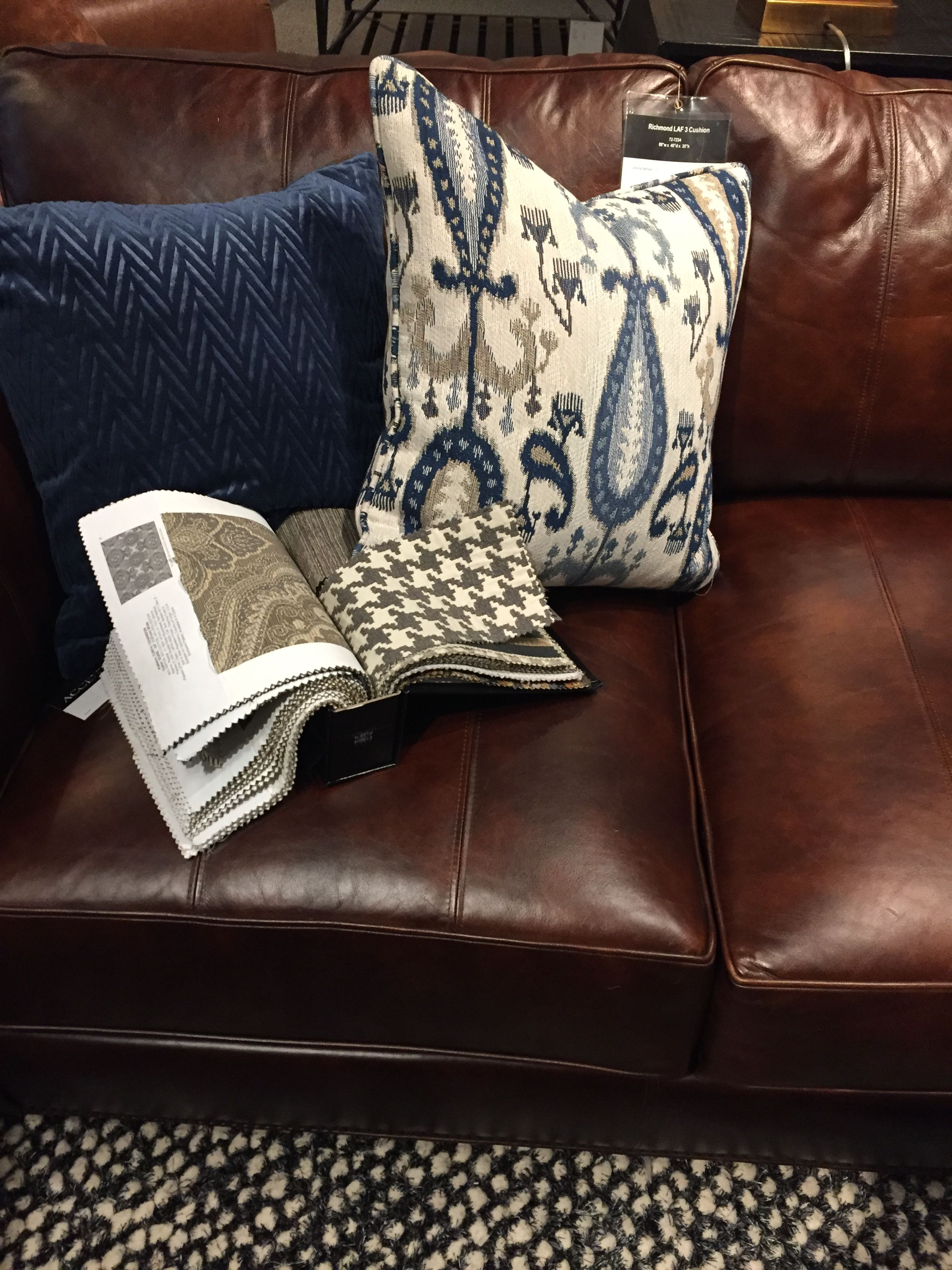 beautiful rich leather with blues and creams living room brown rh pinterest com