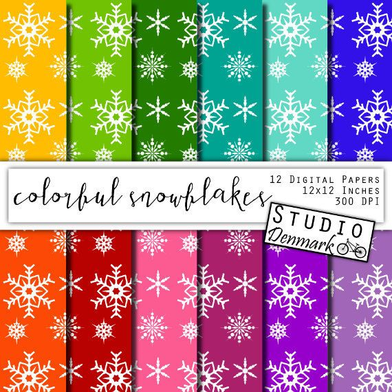 Colorful Snowflakes Digital Paper - Christmas Snowflakes / Snow Frozen Winter Backgrounds - Red / Blue / Purple / Green - Instant Download    ♥