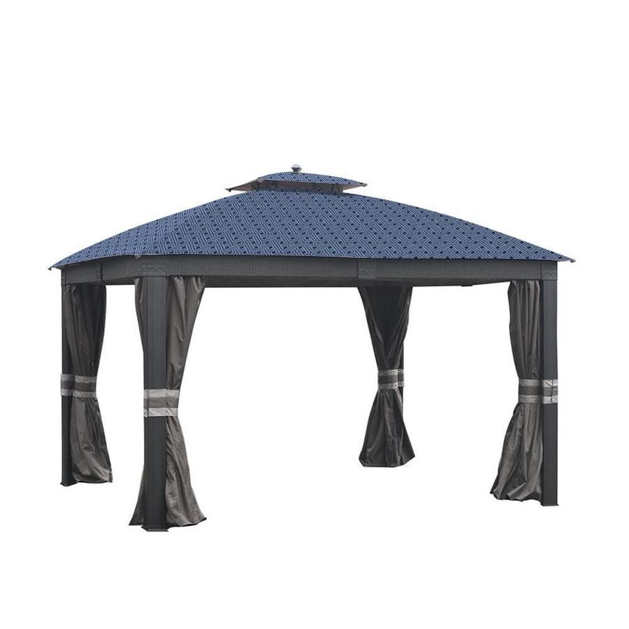 Garden Winds Replacement Canopy Top Cover For Allen Roth Wicker Gazebo Standard 350 Midnight Trellis Lcm1279midtrel In 2020 Gazebo Replacement Canopy Replacement Canopy Gazebo