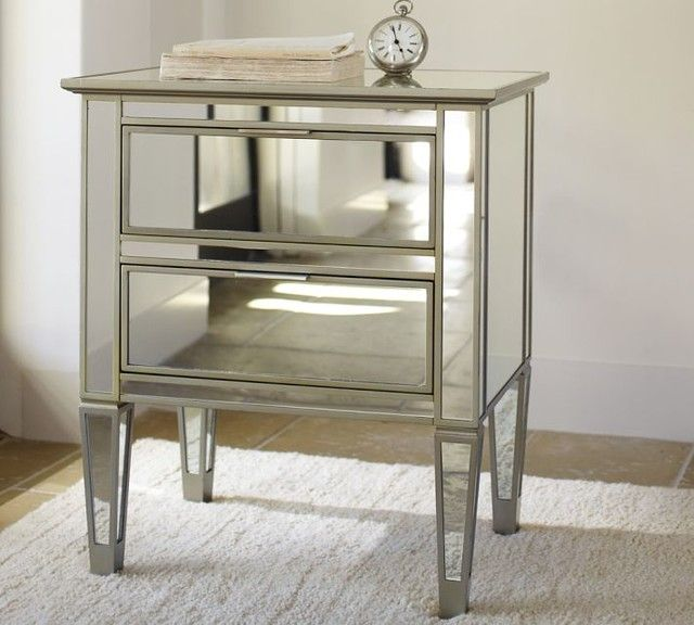 Park mirrored bedside table contemporary nightstands for Mirror bedside cabinets