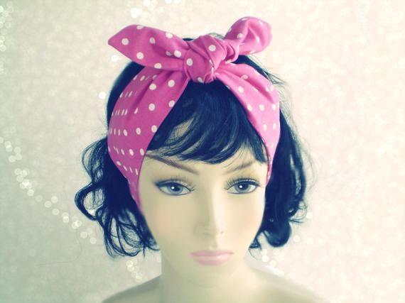 Pink and White Polka Dot Head Scarf, Polka Dot Head Wrap, Pink Headwrap, 1940s 1950s Head Scarf, Pink Head Scarves #headscarfstyles